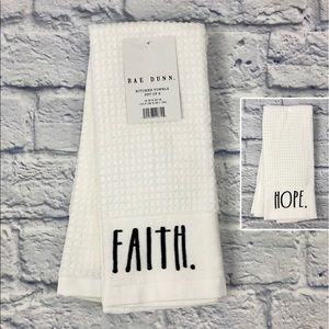 Rae Dunn FAITH + HOPE Kitchen Dish Towels Set of 2
